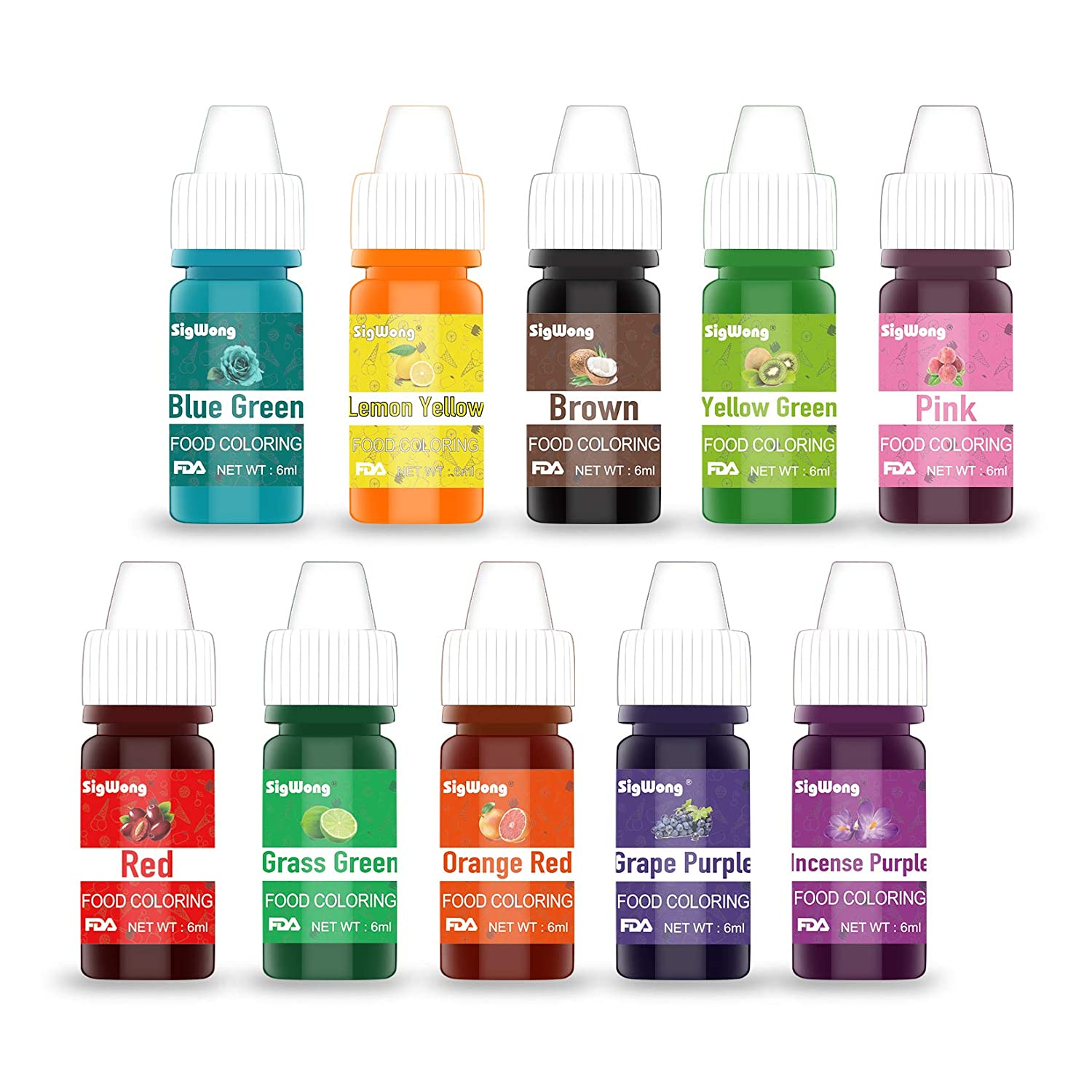 Food Coloring - Concentrated Liquid Food Colouring Set - neon Liquid Food Color Dye for for Baking, Decorating, Icing, Cooking, Slime Making Kit and DIY Crafts, 10 Color × 6ml Bottles(.25 fl.oz.)