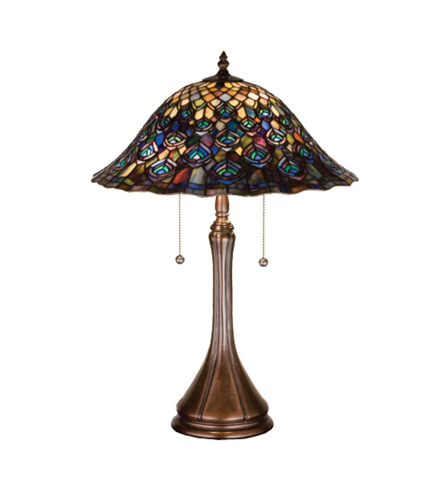 StarSun Depot 22'' H Tiffany Peacock Feather Table Lamp Dry