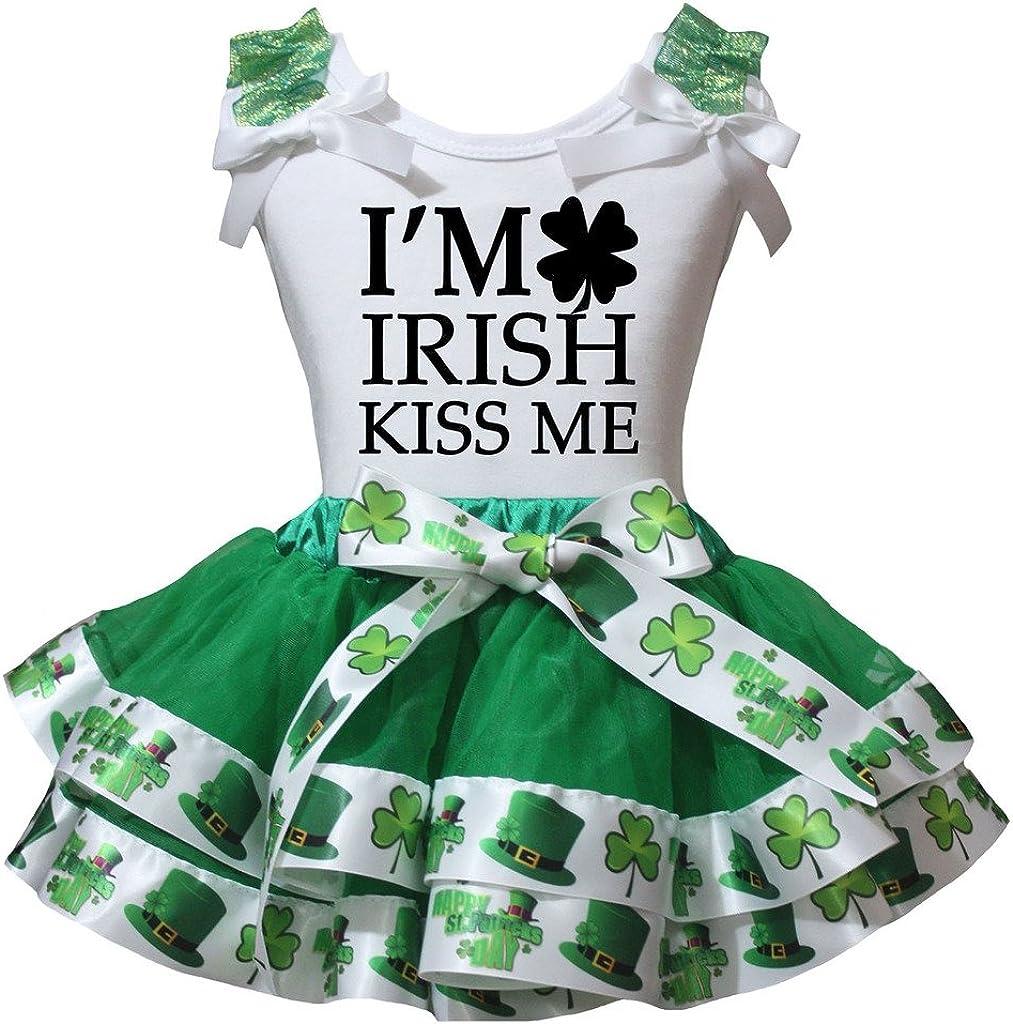 Petitebella Im Irish Kiss Me White Shirt Clover Green Petal Skirt Set Nb-8y