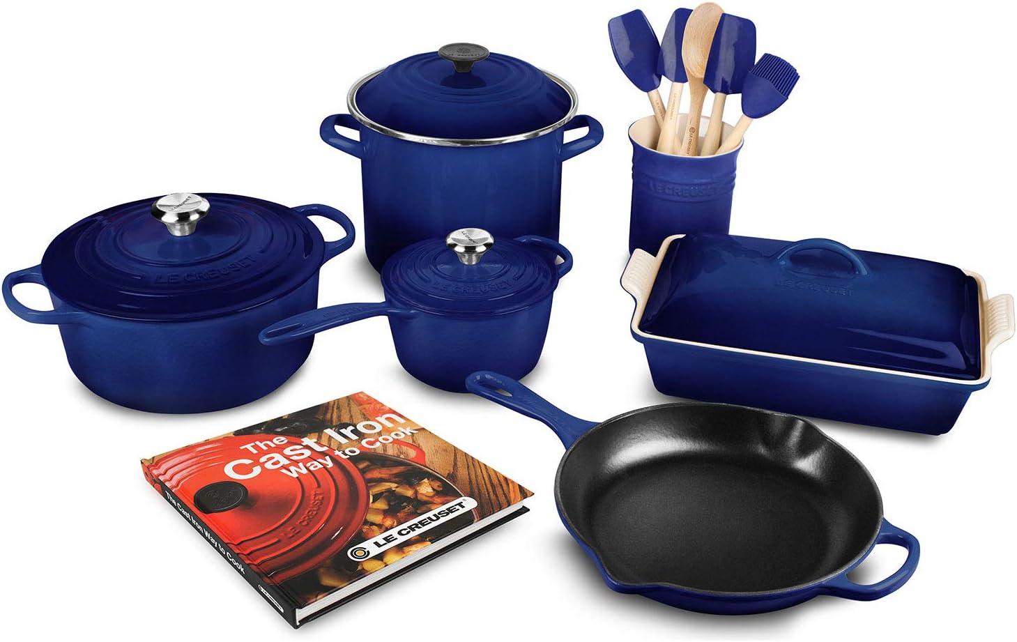 Amazon Com Le Creuset 16 Piece Cookware Set Indigo Kitchen Dining