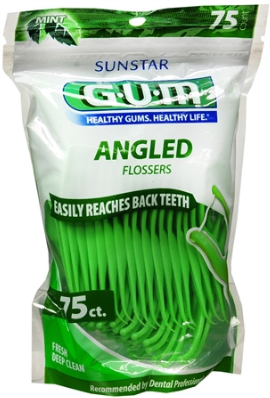 Amazon.com: GUM Angled Flossers Fresh Mint 75 Each ( Pack