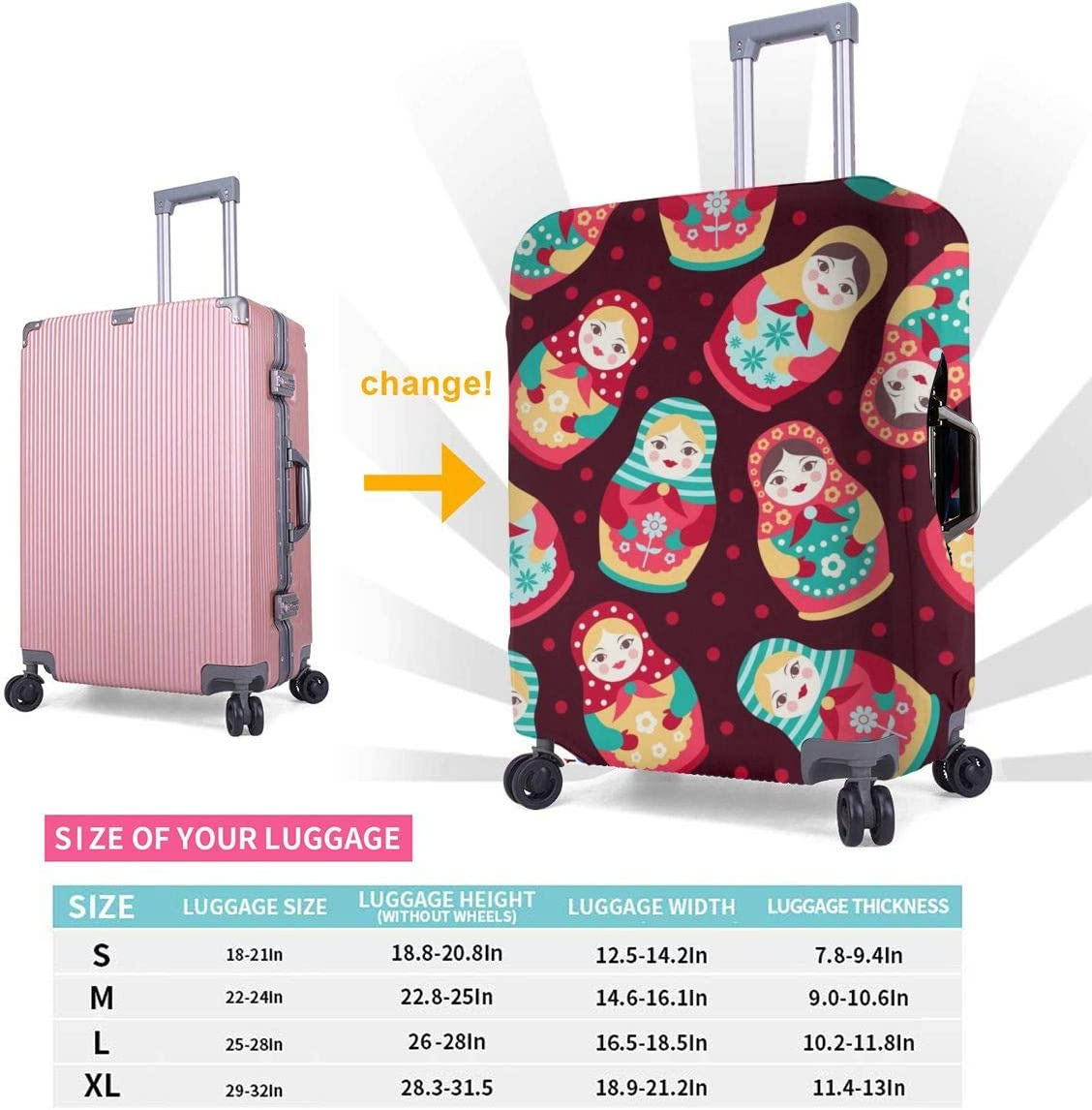 Russian Dolls Travel Luggage Cover Suitcase Protector Washable Zipper Baggage Cover