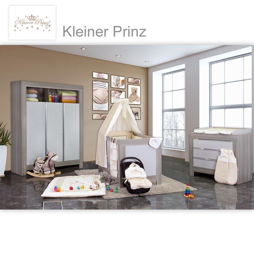 Babyzimmer Felix in akaziengrau 10 tlg. mit 3 türigem Kl. + Set Kleiner Prinz Beige