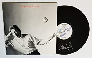 Huey Lewis REAL hand SIGNED Small World vinyl record COA The News