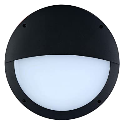 """Zip-LED 14.1"""" Commercial Wall Pack Sconce Bulkhead in Black and Opal, Eyelid Fascia with Sensor, 24W 4000K Natural White 2, 256 Lumen, 0-10V Dimmable, Waterproof IP65, ETL Listed DLC Certified"""