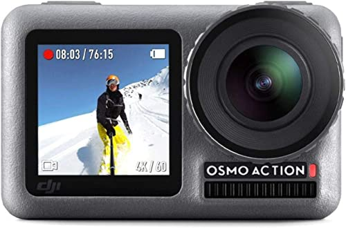 DJI OSMO Action Cam Digital Camera with 2 Displays 36FT 11M Waterproof 4K HDR-Video 12MP 145 Angle Black with Extra Battery