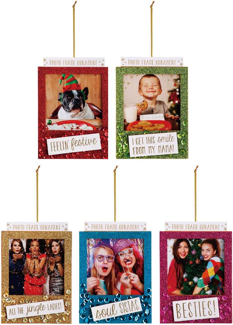 DEMDACO Our First Christmas Glitter Frame 4.5 x 4 Inch Holiday Photo Frame Hanging Ornament