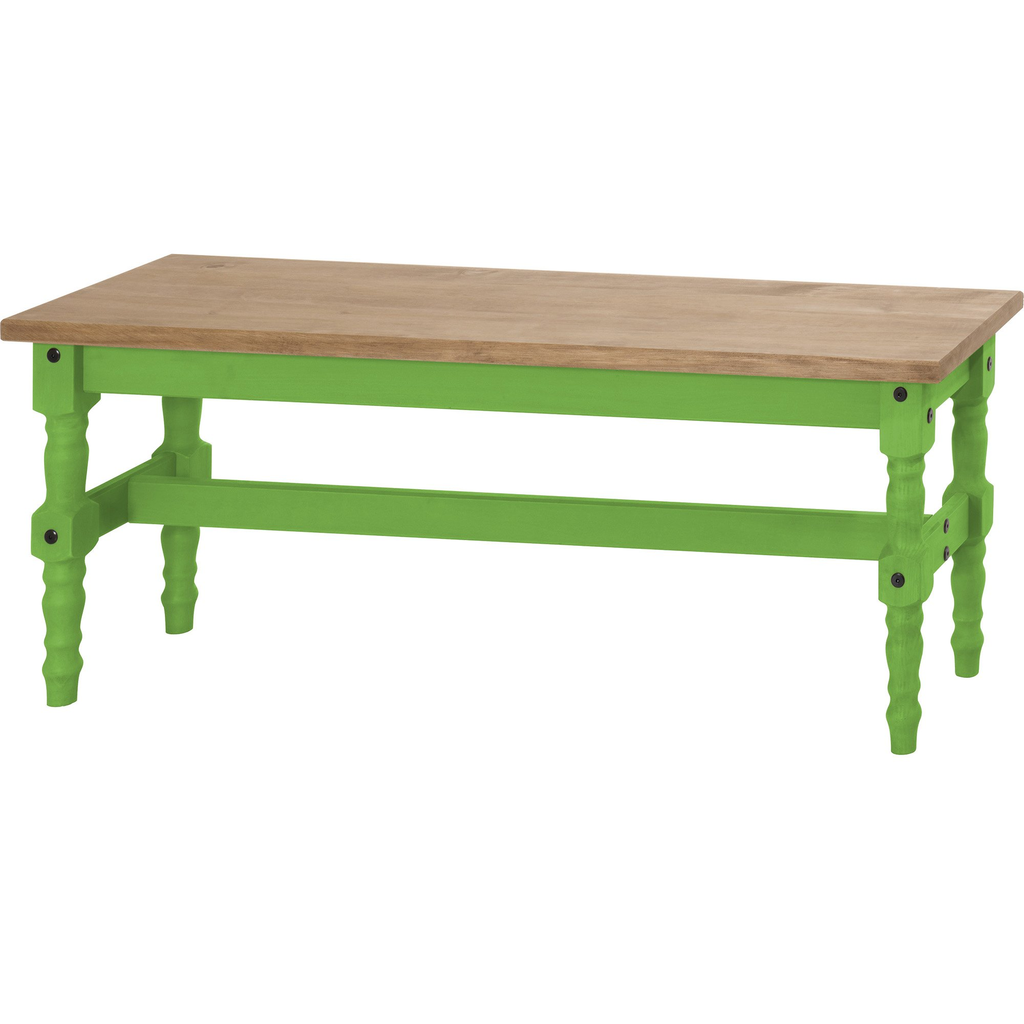 Manhattan Comfort Jay Collection Traditional Wooden Dining Table Bench With Trim Finish, Green/Wood