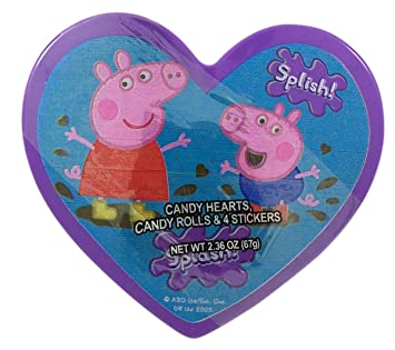 Peppa Pig Valentines Day Heart Box With Candy Pieces And Stickers, 2.36 Oz  (Purple