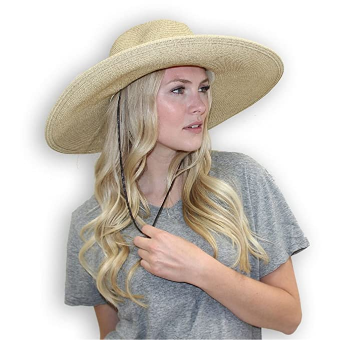 d94ba6a45 El Ranchero Extra Large Brim Straw Sun Hat for Men & Women with Chin Strap  Fashionable & Perfect for Gardening Coffee