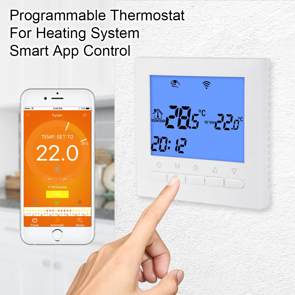 Bonega WiFi Smart App programable termostato controlador de temperatura con gran pantalla LCD para sistema de calefacción de agua/suelo eléctrico: ...