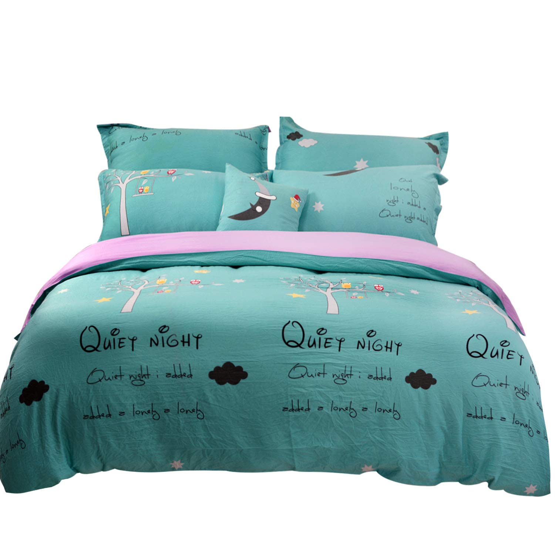 Tealp Dorm Room Bedding Twin Size 3 pcs Aqua Duvet Cover (No Comforter)