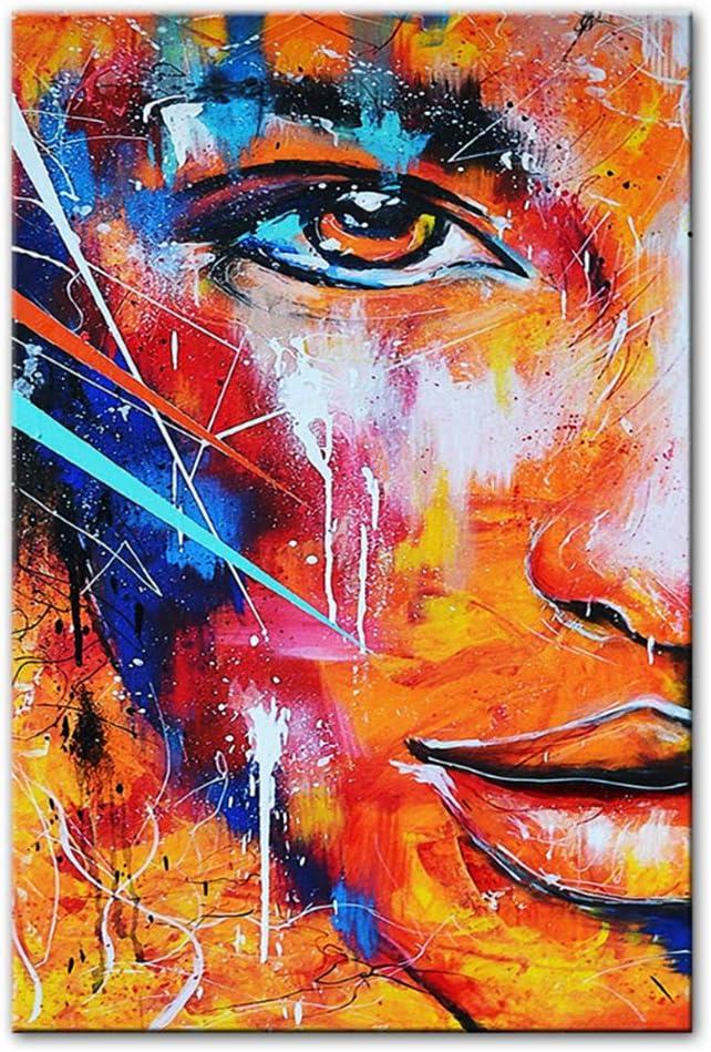 NIESHUIJING Imprimir en Lienzo Cuadros Abstractos de Media Cara Cuadros Modernos de Arte de Graffiti para Sala de Estar Decoración de la Pared Carteles 15,7