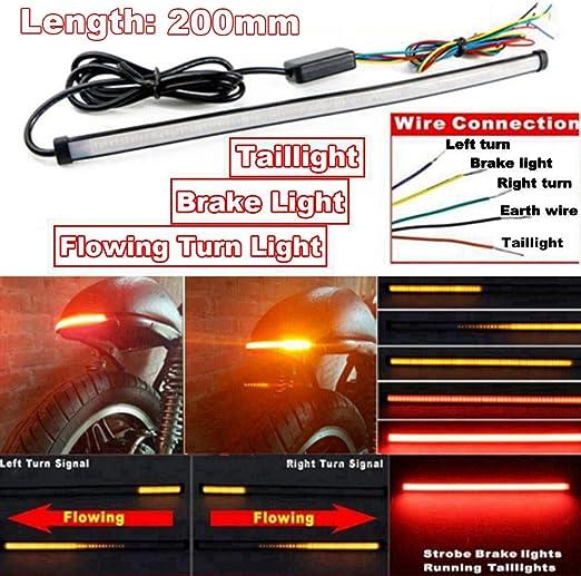 LED Bande Lumineuse Moto,Universal LED Flexible Lumi/ère Freins Clignotant 48 Lumi/ères LED 3528 SMD Feux de Freinage /à LED Feux Stop Etanche Arr/êt du Signal Lampe 12V