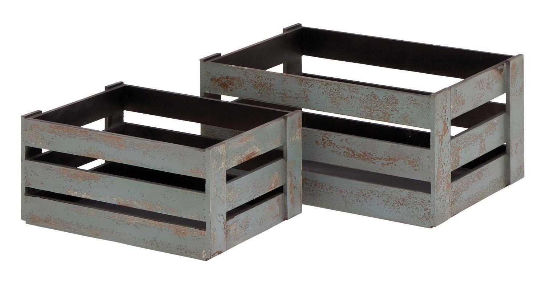Plutus Brands Wood Crate Glazed with Grey Hues, Set of 2 [並行輸入品] B01CQJ0Q24