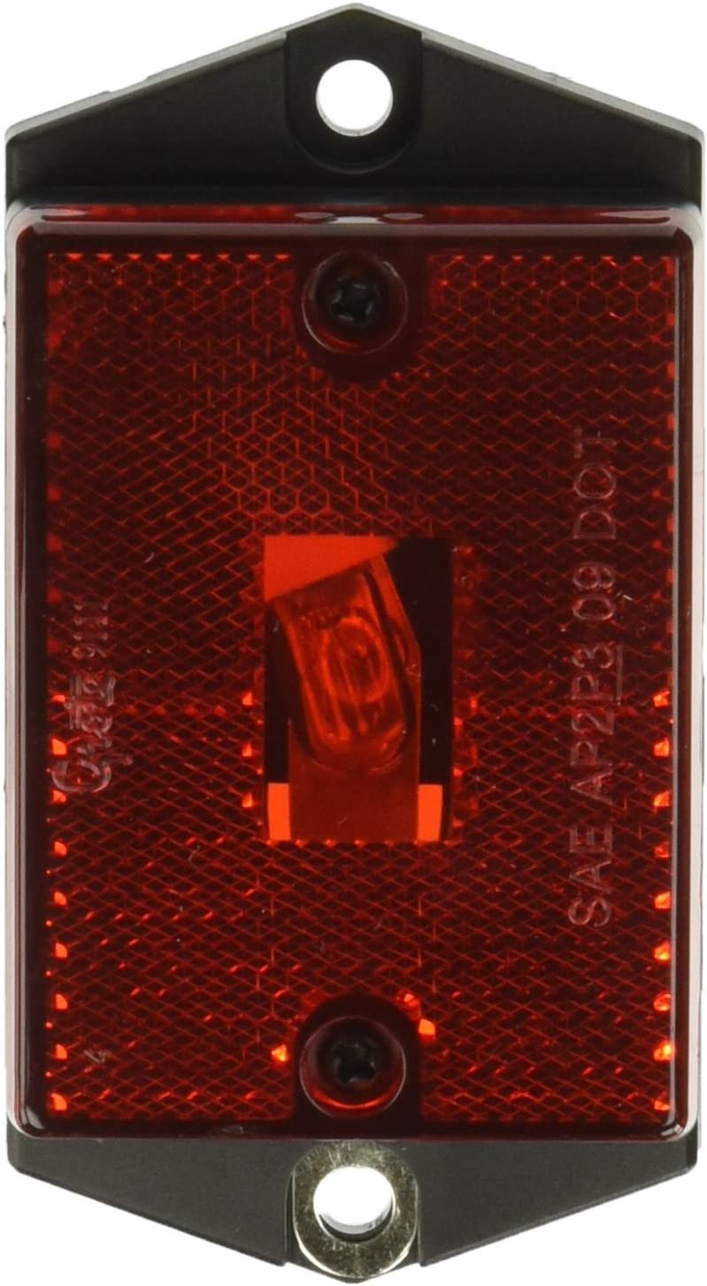 Retail Pack Grote 46392-5 Red Rectangular Single-Bulb Clearance Marker Light with Built-In Reflector