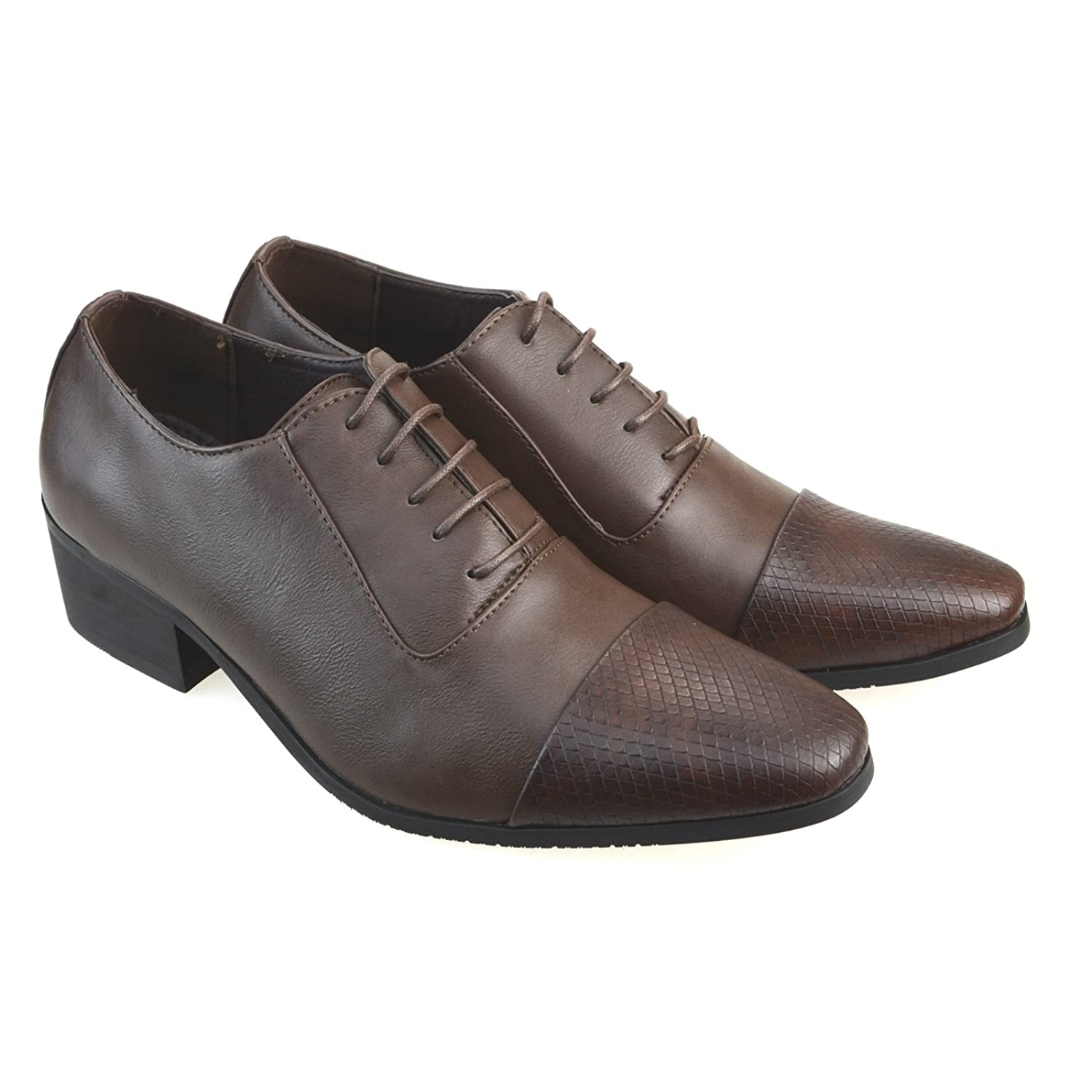 AN Mens Dress Shoes Embossed Cap Toe Two Tone Sytle Lace Up