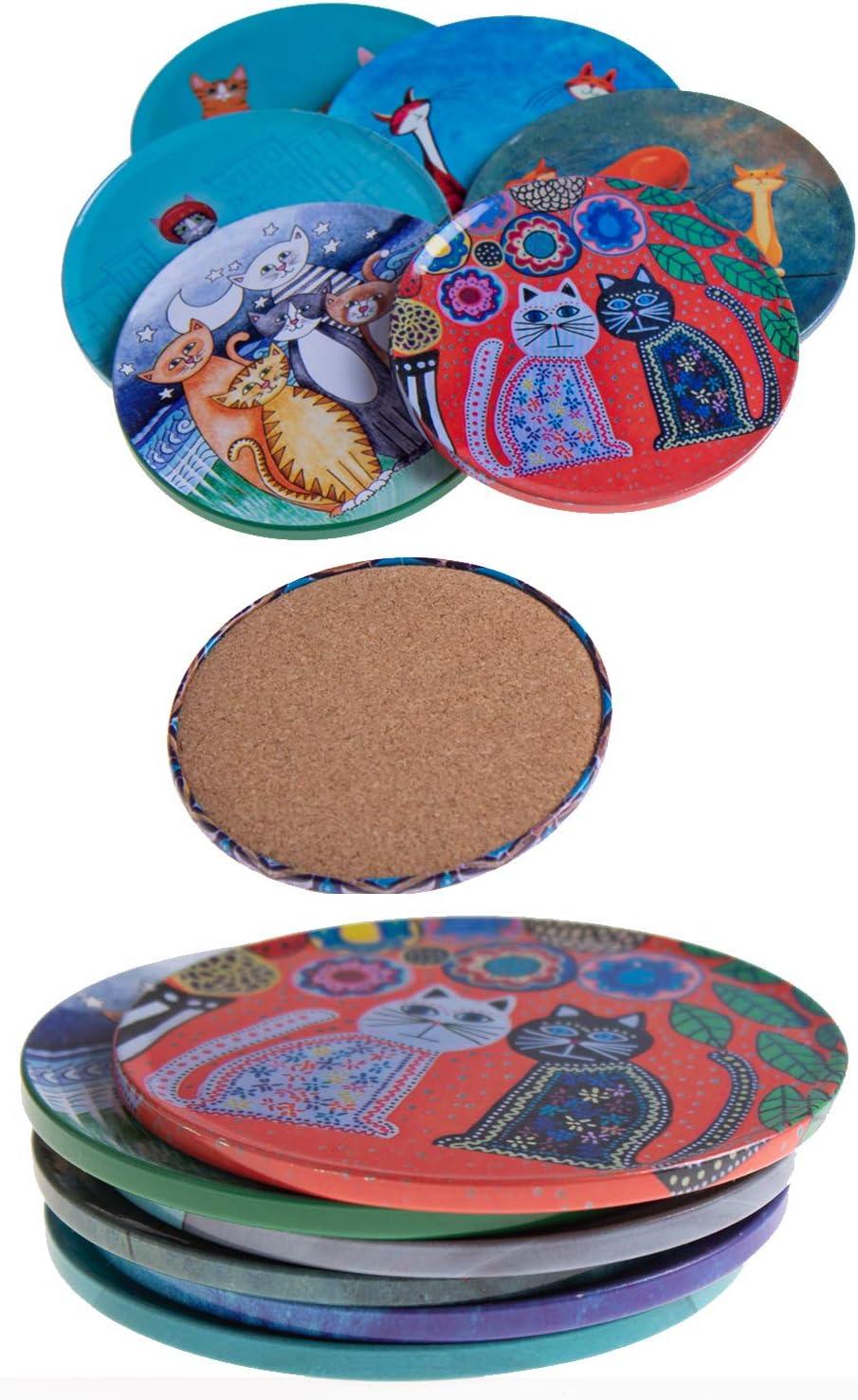 Tazas Cocina Cristal- Juego de mesas Vino Vasos Alcazaba Taza uno Drink - Regalos Originales Decorativos para caf/é BABEL ARTESANIA Posavasos Base Corcho para Mesa de Madera Set de 6