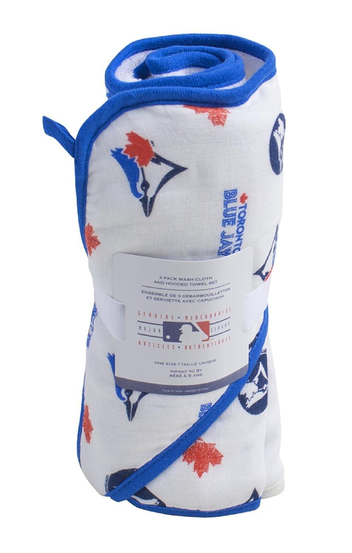 MLB Toronto Blue Jays Licensed Baby Hooded Towel With 3 Wash Cloths Gertex