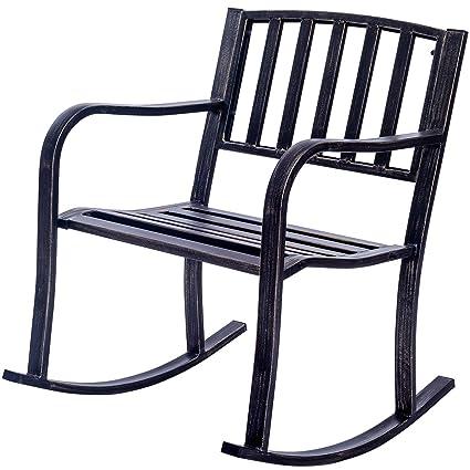 Giantex Patio Metal Porch Rocking Chair Seat Deck Outdoor Backyard Glider  Rocker (Straight Design)