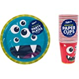 40pc Children's Monster Birthday Party Set Cups & Plates Tableware Accessory