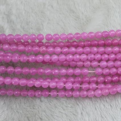 6mm Faceted Pink Jade Gemstone Round Spacer Loose Beads 15/'/'