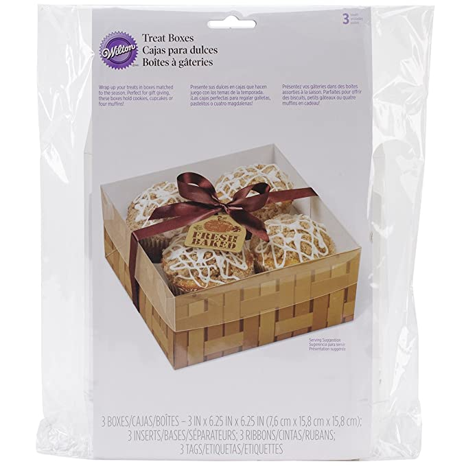 Amazon.com: Wilton 4 Cavity Fresh Baked Treat Boxes, 3 by 6.25 by 6.25-Inch, 3-Pack: Kitchen & Dining