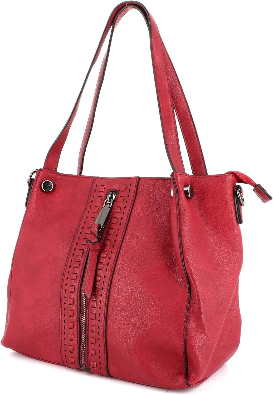Shopper Fourre-Tout Taille Moyenne Sac de Ville Port/é Epaule Silimicuir Tendance et Classique Sac /à Main Femmes Bandouli/ère