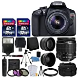 Canon EOS Rebel T6 Digital SLR Camera with 18-55mm EF-S f/3.5-5.6 IS II Lens + 58mm Wide Angle Lens + 2x Telephoto Lens + Flash + 48GB SD Memory Card + UV Filter Kit + Tripod + Full Accessory Bundle
