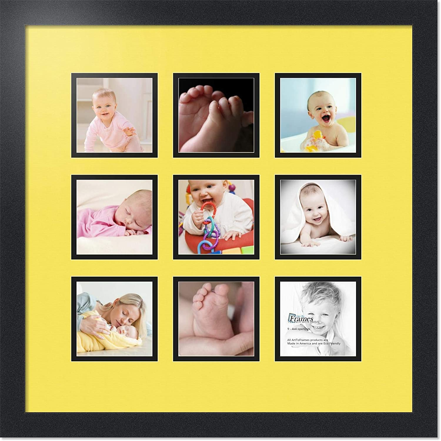 ArtToFrames Collage Photo Frame Double Mat with 9-4x4 Openings with Satin Black Frame and Canary mat. Double-Multimat-1187-47R/89-FRBW26079