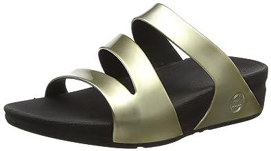 cdea14d48ea8 FitFlop Women s Superjelly Twist Slide Sandal Gold Mirror 11 ...