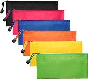 LABUK 6pcs Zipper Pencil Pouches, Small Zipper Pencil Bags Waterproof Pencil Cases, for Office Travel Cosmetics 6 Colors