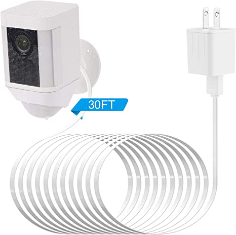 White Extra Long and Thin 30 ft//9 m Weatherproof Outdoor Cable to Continuously Charge Your Home Security Camera Alertcam Power Adapter for Ring Spotlight Cam Battery