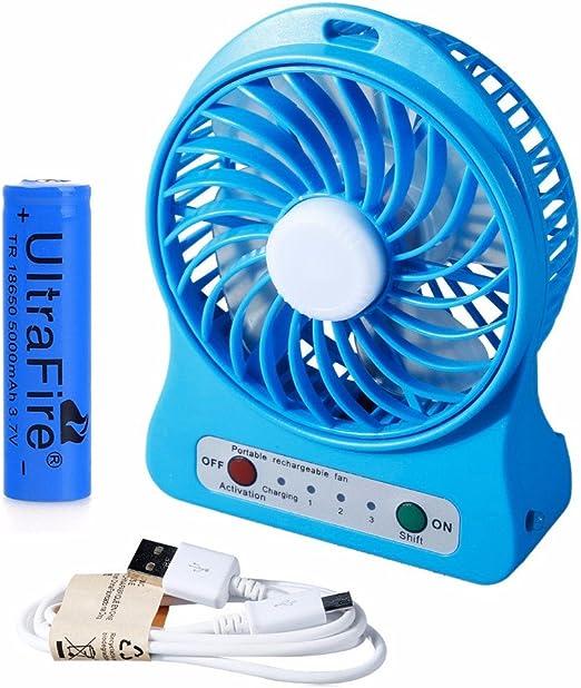 4.5W Portable Rechargeable 3 series LED Light Fan Air Cooler USB Mini Desk Fan