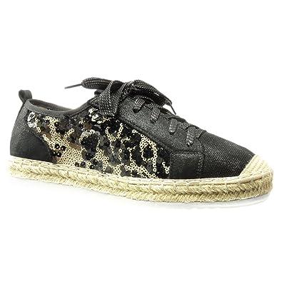 Angkorly Damen Schuhe Sneaker - Bi-Material - Glänzende - Nieten - Besetzt Keilabsatz 2.5 cm - Schwarz AN-27 T 40 fcubtMqn