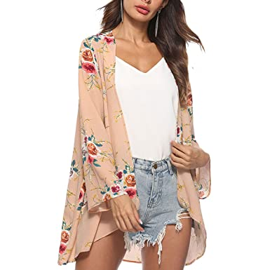 QHDZ Floral Cover Up Kimono Cardigan Blusa Mujeres manga larga Chal Irregular Escudo Blusa de mujer de moda: Amazon.es: Ropa y accesorios