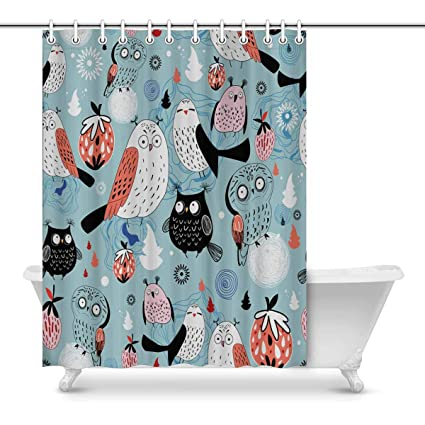 Image Unavailable Not Available For Color INTERESTPRINT Mysterious Owl Fabric Shower Curtain