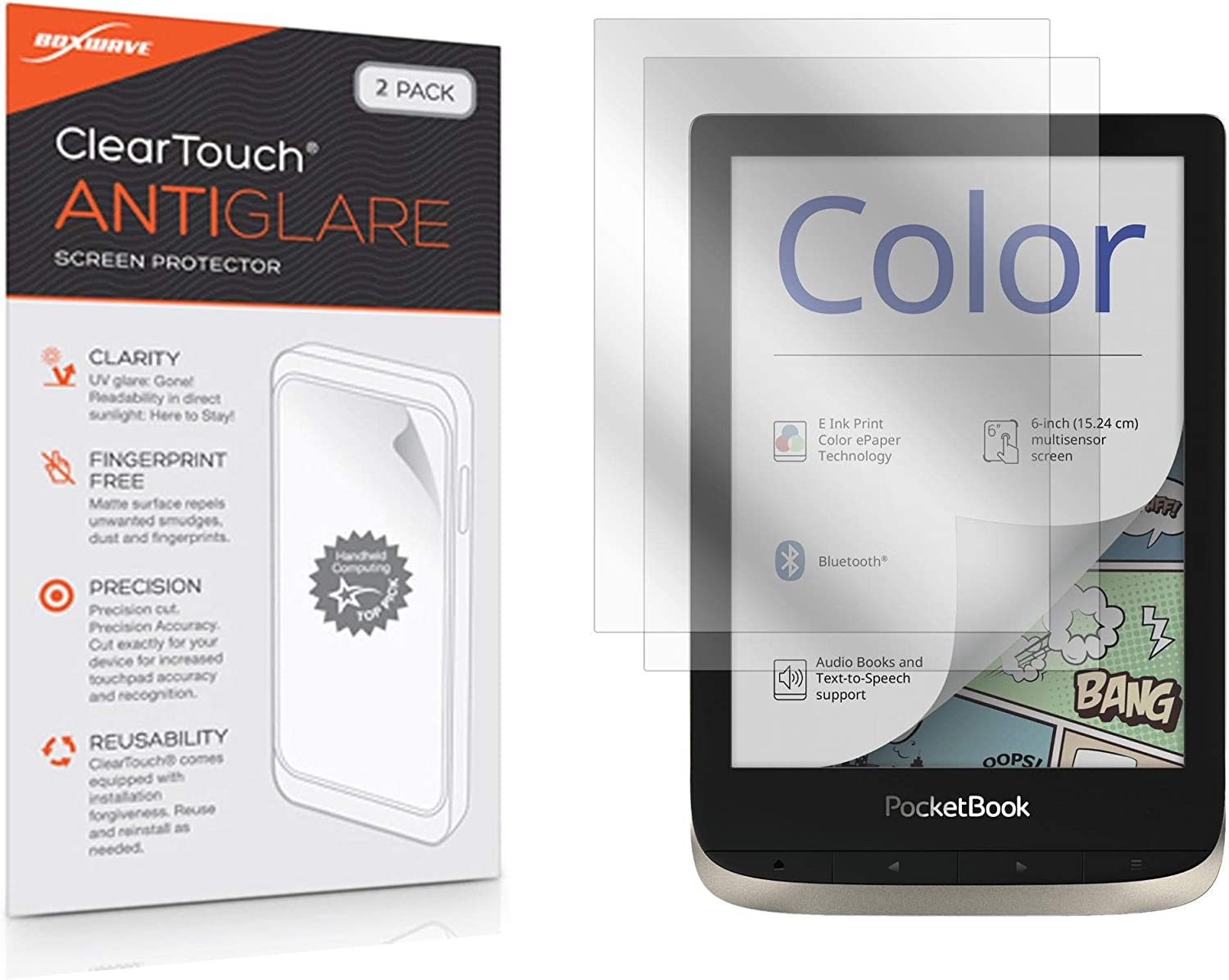 Pocketbook Color e-Reader Screen Protector, BoxWave [ClearTouch Anti-Glare (2-Pack)] Anti-Fingerprint Matte Film Skin for Pocketbook Color e-Reader