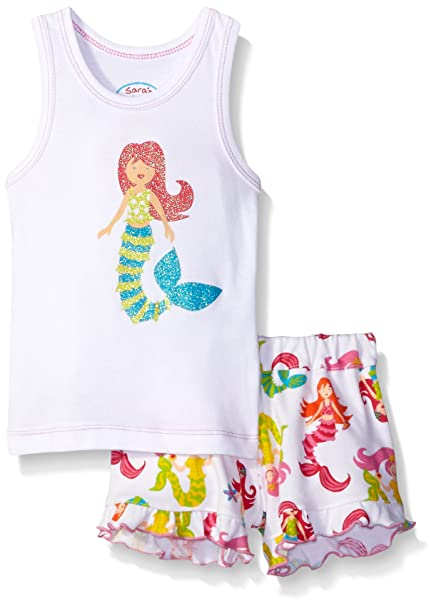 1846615abc61 Amazon.com: Sara's Prints Girls' Tank Top and Short Pajama Set: Clothing