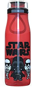 Zak Designs Star Wars Ep4 Plastic Water Bottle with Push Button Action and Locking Lid, Includes Portable Carry Loop, Leak-Proof Design is Perfect for Outdoor Sports (25oz, Darth Vader, BPA-Free)