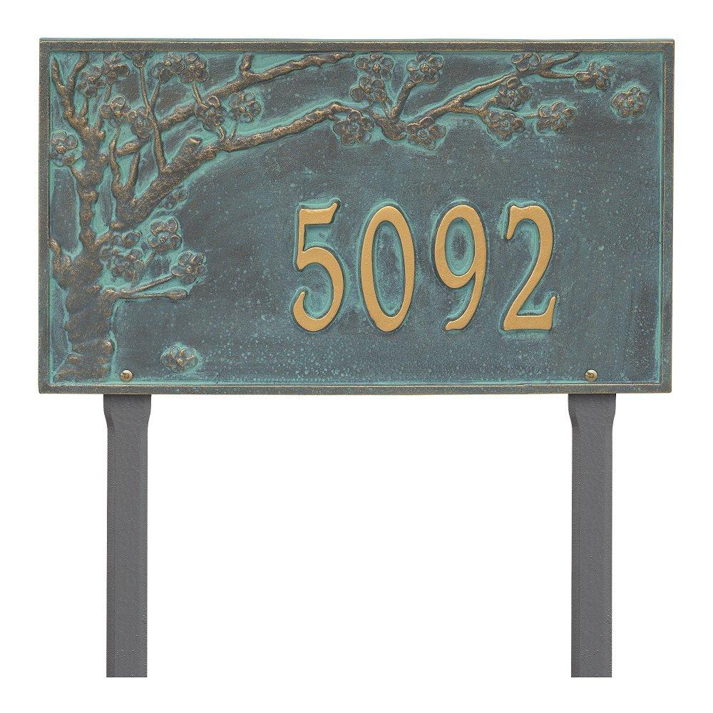 Custom Spring Blossom Estate LAWN Address Plaque 20''W x 12''H (1 Line)