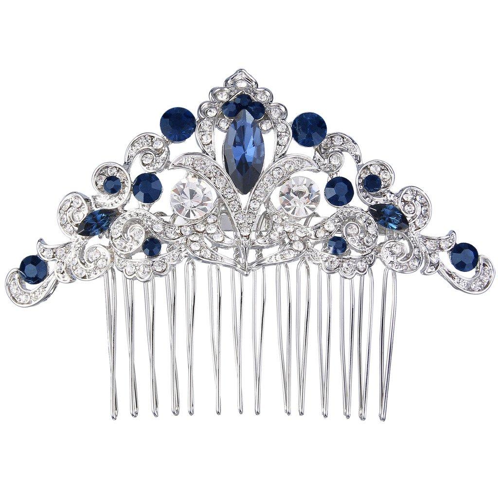 Ever Faith Art Deco Vine Bride Hair Comb Cream Simulated Pearl Clear Austrian Crystal N04306-2