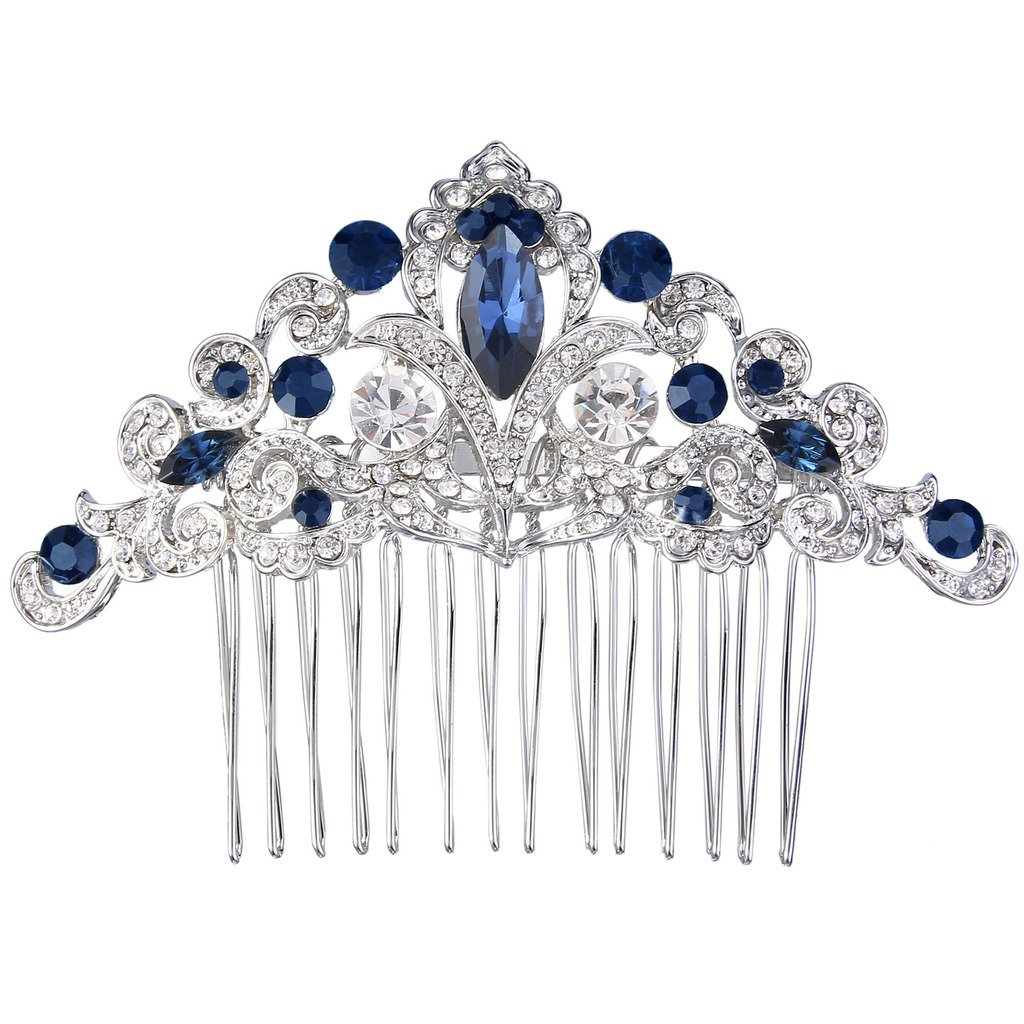 EVER FAITH Silver-Tone Austrian Crystal Elegant Wedding Flower Vine Hair Comb Navy Blue