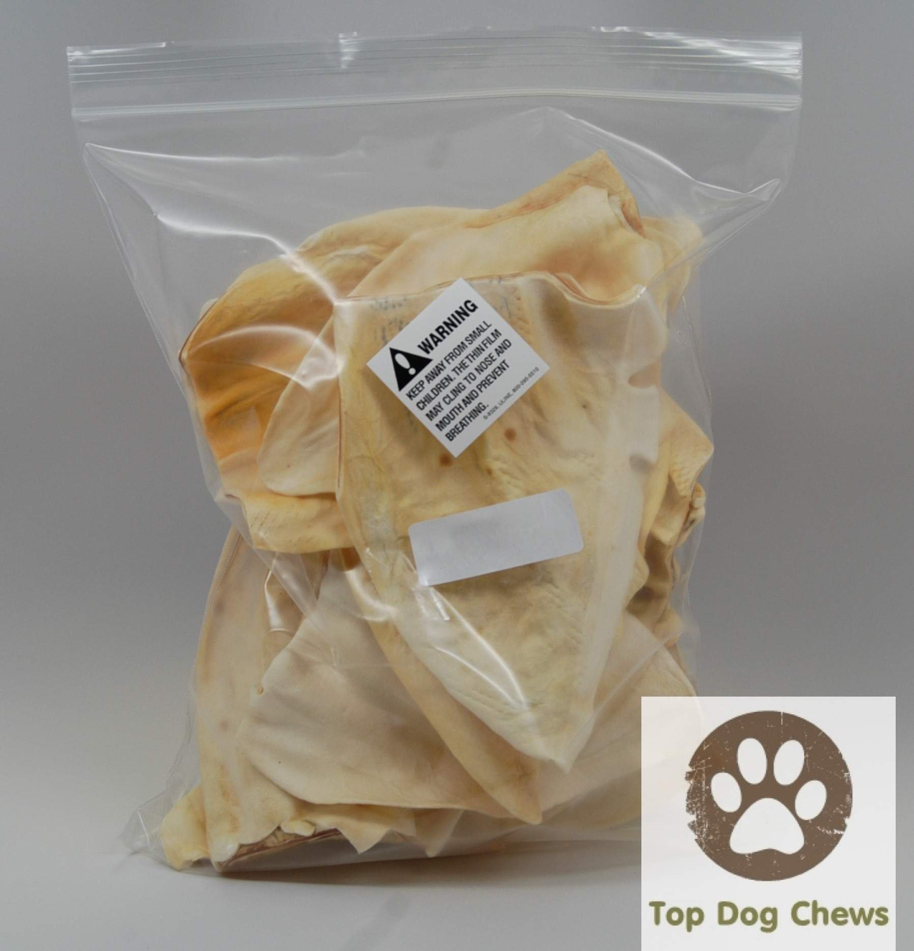 Top Dog Chews Cow Ears Jumbo Thick 100 Pack - Huge No Additives, Chemicals or Hormones - USDA/FDA Inspected