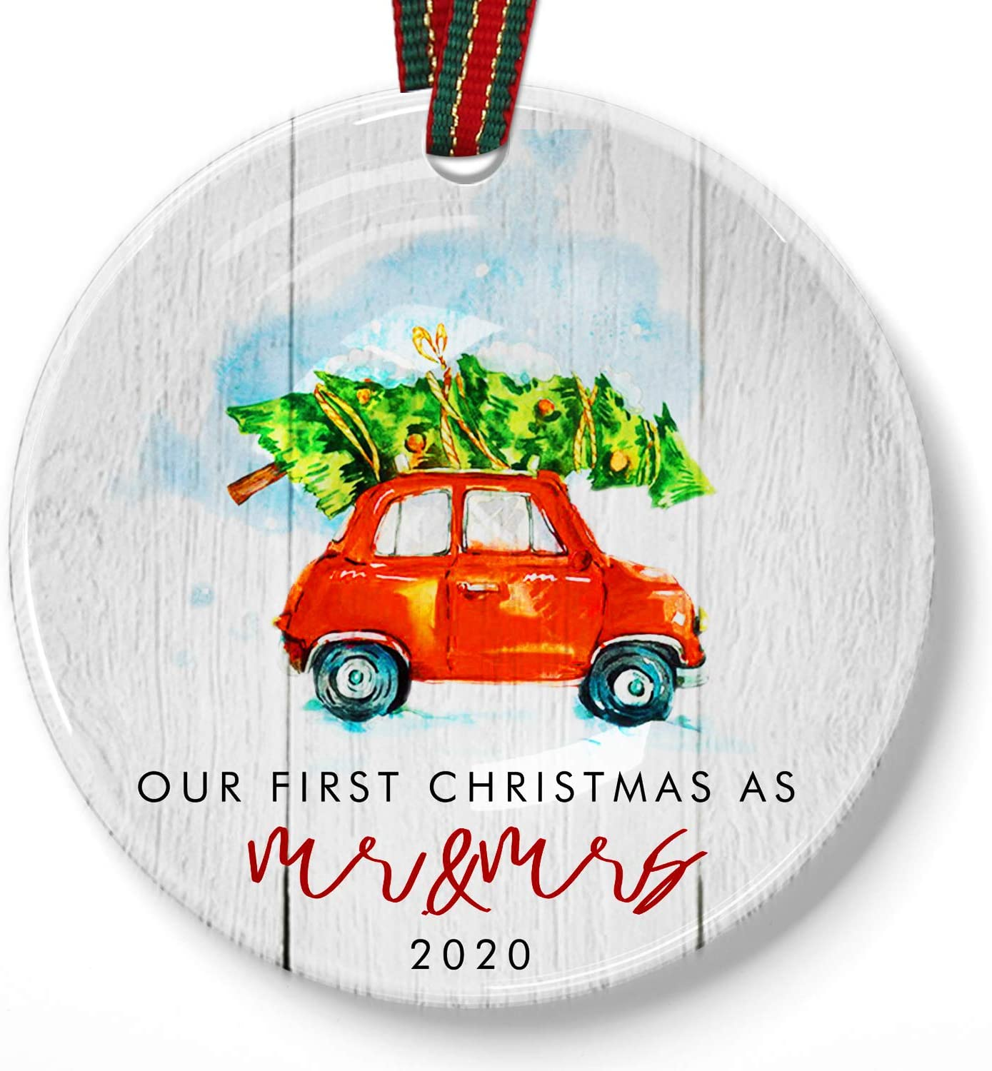 Muminglong First Christmas as Mr & Mrs Ornament 2020 Rustic 1st Year Married Newlyweds |Xmas Ribbon & Xmas Theme Gift Box|Mr & Mrs First (Christmas Car Design)