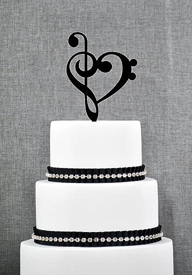 Treble Bass Clef Heart Wedding Cake Topper Music Heart Wedding Cake