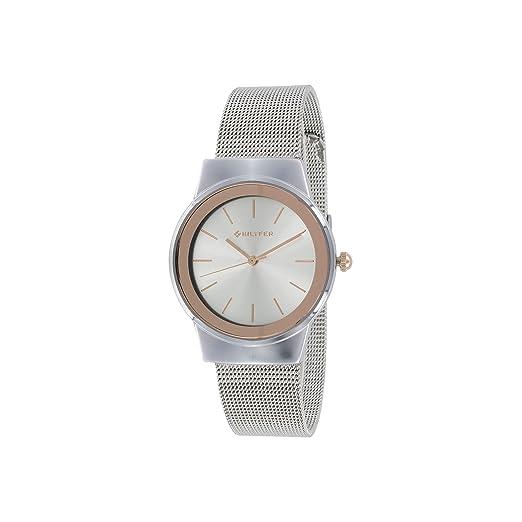 Reloj Bilyfer para Mujer con Correa Plateada y Pantalla en Blanco 3P528-M: Amazon.es: Relojes