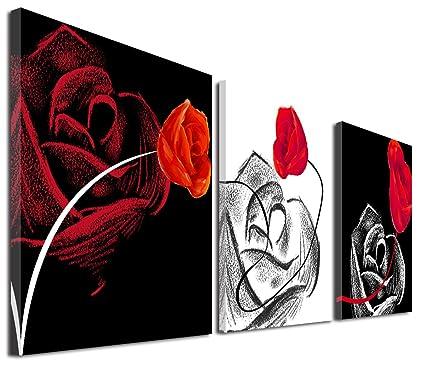 Mon Art 12 en x 12 en x3 Pics Negro Blanco Rojo Rosa 3 Piezas lona ...