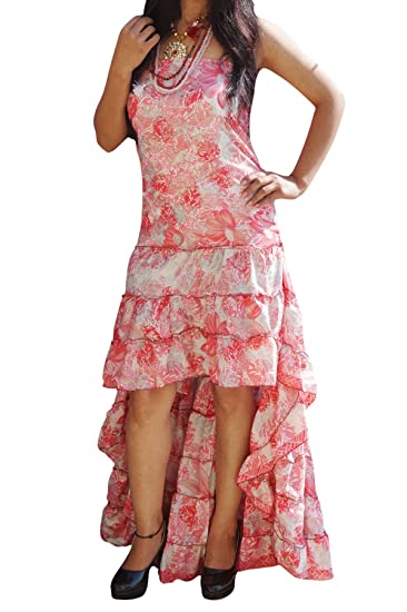 Womens Hi Low Dress Recycled Silk Printed Strapless Swirling Long Summer Beach Party Dresses Medium/