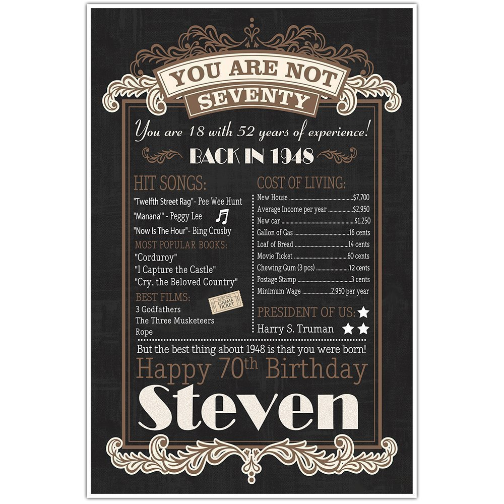 70th Birthday Chalkboard Born in 1948 Stats Sign Photo Prop Poster